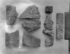 Fragments of decorated tile found at Greyfriars, Llanfaes taken prior to 1960.