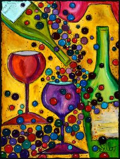 Festive Pouring wine bottle & glass art painting by OriginalArtbyCassie on Etsy #cMulti #cGreens #cYellow