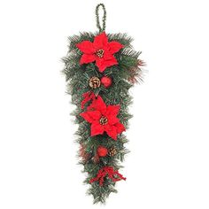 32 in. Unlit Mixed Pine Swag with Red Poinsettias *** You can find more details by visiting the image link. (This is an affiliate link) #SeasonalDcor