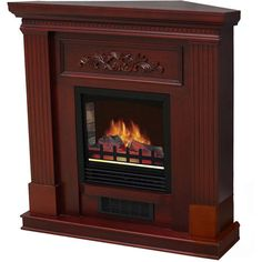"Free Standing Electric Fireplace Heater 38"" Mantle Programmable 1500 Dark Cherry #MassMarket"