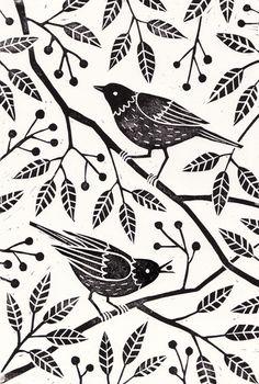 eatsleepdraw: Linocut print by Laura Middleton. Art And Illustration, Vogel Illustration, Linocut Prints, Art Prints, Block Prints, Linoprint, Bird Art, Screen Printing, Stencil Printing