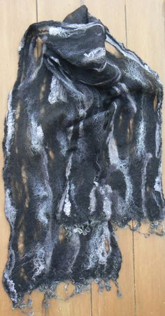 No silk at all in this one except to brighten the alpaca, Cool Cobweb is cobweb felted using grey and black alpaca. Merino locks are use in trim. Tie Dye Skirt, Locks, Scarves, Felt, Cool Stuff, Grey, Skirts, Fashion, Scarfs