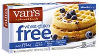 Van's Natural Foods - Gluten Free Waffles Blueberry -      Like a little fruit in your waffles? Van's Gluten Free Blueberry waffles are the perfect treat, made with whole grain brown rice flour and sweetened with fruit juice. Try them with a swirl of maple syrup or sprinkle of chopped nuts!