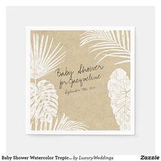 Baby Shower Watercolor Tropical Leaf Coastal Kraft Napkins Baby Shower Napkins, Gender Neutral Baby Shower, Ecru Color, Tropical Leaves, Baby Party, Baby Design, Paper Napkins, Best Part Of Me, Baby Boy Shower