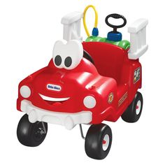 Little Tikes Spray & Rescue Fire Truck (050743616129) Little Firefighters will ride to the rescue in this adorable Spray & Rescue Fire Truck! Pressurized water tank and hose assembly really squirts water!Features: Full-size fire truck comes in a small package. Foot-to-floor ride-on has a friendly smiling face that children adore. Pressurized water tank and hose assembly really squirts water! Water tank is easily removed for easy filling. Cool retro styling. Easy assembly. Includes: - 1 Fire…