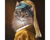 Cat Portrait, Cat with a Pearl Earring 8x10 Print, Cat Art Print, Maine Coon Cat
