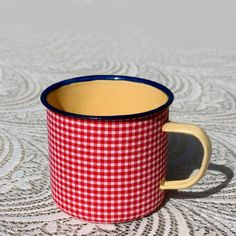 Mustard Enamel Mug – Red Check from Mossie Handmade Market Day Ideas, Fresh Outfits, Craft Markets, Cute Mugs, Buy Shoes, Best Brand, Mustard, Fashion Online, Cups