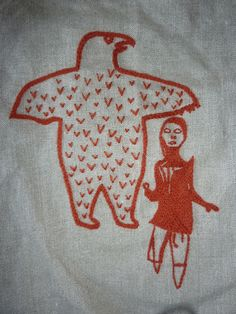 embroidery of Tudlik stone cut by Sewphie T, via Flickr