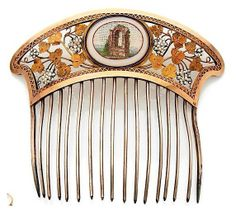 Hair comb with micro-mosaic medallion.