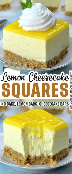 Easy No Bake Lemon Cheesecake Bars with graham cracker crust and lemon curd topping is light and refreshing spring or summer dessert recipe, and perfect addition to Easter table. Desserts No Bake Lemon Cheesecake Bars Lemon Cheesecake Recipes, Lemon Desserts, Lemon Recipes, Keto Cheesecake, Summer Cheesecake, Simple Cheesecake Recipe, Lemon Curd Dessert, Lemon Curd Cake, Raspberry Cheesecake