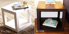 DIY: An Ikea Hack of West Elm's Parsons Cube * I did these to my Lack end tables and only cast me $15.00 each compared to $149 each end table fro west elm!* but dont get me wrong i love west elm! overpriced!