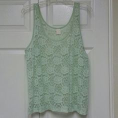 WILD PEARL Light Green Tank Size XL, sheer light green lace tank, looks great over another tank, lightly worn a couple times, lace floral print, fron Nordstroms.... ask me anything! Wild Pearl Tops Tank Tops