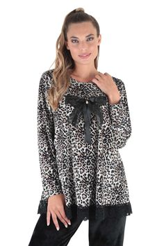 Claire Katrania Homewear Βελουτέ Leopard Print