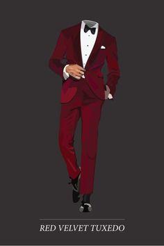 Red Velvet Style  | Look sharp this New Year's Eve in a dark red velvet tuxedo, black bow tie + white pocket square.