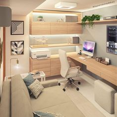 Home Office Layouts, Home Office Setup, Home Office Space, Home Office Furniture, Office Workspace, Bedroom Office, Office Ideas, Modern Home Offices, Small Home Offices