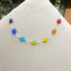 Rainbow Sea Glass Necklace with Handmade by glassfantasies on Etsy