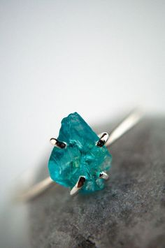 Sterling Silver Jewelry Rough gemstone ring in sterling silver aqua by GossamerScapes