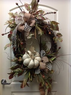 Cream burlap  pumpkin. Wreath