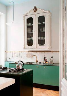 Kitchen green cupboards dark green counters blue ceiling vintage upper cabinet brass