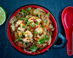 Spaghetti with sweet chilli prawns recipe from Marshalls foods.