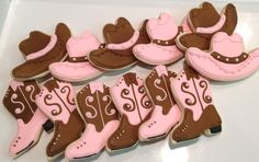 Western Girl Boots and Cowboy Cowgirl Hats - Decorated Sugar Cookies by I Am The Cookie Lady