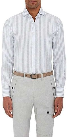 Brunello Cucinelli MEN'S COTTON-LINEN SLIM-FIT SHIRT