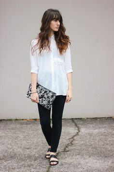 Tonya S. - Asymmetrical Button Up, Leather Bag, Slingback Sandals - Black & White