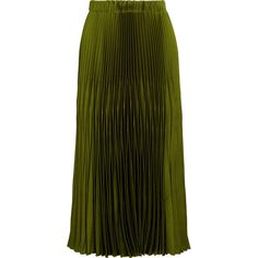Gucci Pleated satin midi skirt (5,230 PEN) ❤ liked on Polyvore featuring skirts, gucci, pleated skirt, calf length skirts, gucci skirt, green pleated skirt and pull on skirt