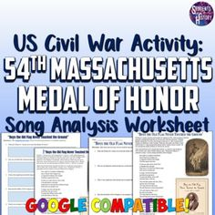 This worksheet for the US Civil War features an amazing song written in honor of William H. Carney's heroic actions. Carney was born into slavery, but escaped and served in the famous 54th Massachusetts Regiment. There is an introduction proving background on Carney and the events surrounding his co... Civil War Activities, Teaching Activities, Harlem Renaissance Poets, James Weldon Johnson, Unit Plan, American Civil War, Massachusetts, Civilization, Worksheets