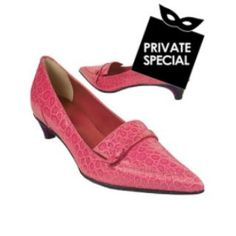 Fuchsia Croco-embossed Leather Low-heel Pump Shoes - Secret 50% OFF Special, not accessible from our public site. Use code: PLATINUMCODE. Limited time only. This sleek and stylish pointy pump features a thin strap with button detail on a fuchsia croco print upper with tonal stitching. The shaded fucshia sole is ridged for a slip resistant effect...