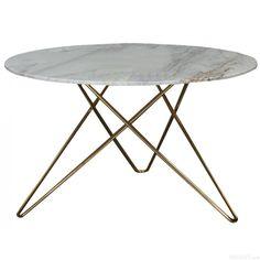 Topp - runt marmor matbord med mässing underrede Ø: 120cm