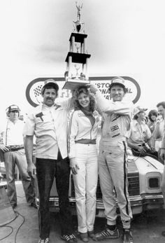 Dale Earnhardt celebrates with crew chief Jake Elder in Victory Lane after his first NASCAR Cup win, which came on April 1979 at Bristol Motor Speedway. Nascar Winner, Elliott Sadler, Terry Labonte, Bristol Motor Speedway, The Intimidator, Nascar Racing, Nascar Sprint, Sprint Cup, Drag Racing