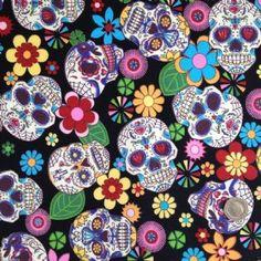 per 1/2 metre/fat quarter 100 % cotton funky skulls  fabric goth