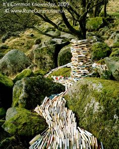 It's Common Knowledge, 2009. Installation Art & Photo © RUNE GUNERIUSSEN (Artist, Norway). A river of knowledge ...  Respect people, respect copyright.  The law requires you to credit the artist. Pin/Link directly to artist's website.  HOW TO FIND the ORIGINAL WEB SITE of an image: http://pinterest.com/pin/86975836525507659/  PINTEREST on COPYRIGHT:  http://pinterest.com/pin/86975836526856889/  The Golden Rule: http://pinterest.com/pin/86975836525355452/ Artists need to eat too.