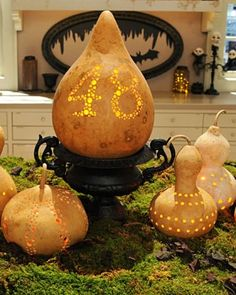 Light up your doorstep with lovely luminaries made from seasonal gourds.