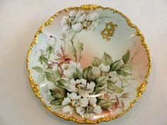 Ester Miler Signed TV Limoges Porcelain Plate with Gold Rim Heirloom collectibles