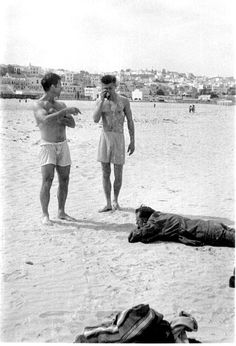 Jack Kerouac, Peter Orlovsky and William S. Burroughs, March 1957. At a beach in Morrocco...photograph by Allen Ginsberg