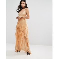 Free People Pretty Lark Layered Lace Maxi Dress ($270) ❤ liked on ...