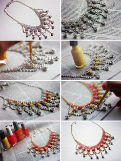 I would NEVER do this with my vintage rhinestone jewlery, but if I can find some at garage sales, I'll give it a try!