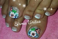 Uñas florales Toe Nail Art, Toe Nails, Toe Nail Designs, Flower Nails, Triangles, Manicure, Beauty, Toenails, Nail Bling