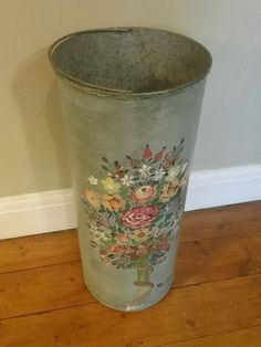 Vintage French umbrella stand, hand-painted, metal