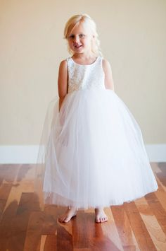 The Honiton: Lace flower girl dress ... ivory lace flower girl dress .. white lace flower girl dress .. 6 layers tulle. $120.00, via Etsy.
