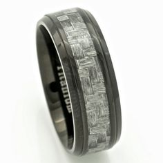 Black Titanium Men's Wedding Band Ring with Gray by PCHJewelers