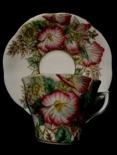 Beautiful cup and saucer in a very hard to find pattern. Tea Cup Set, My Cup Of Tea, Tea Cup Saucer, Vintage Cups, Vintage Dishes, Vintage Tea, Pink Coffee Cups, Tea And Crumpets, Porcelain Mugs