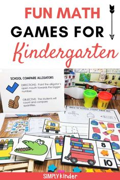 Easy math games for Kindergarten that are perfect for classroom and homeshool. Use them for math centres, early finishers, or independent practice. We got 18 fun math games that will help your students explore numbers and practice using them. Click through to see the details. Easy Math Games, Kindergarten Math Games, Math Tutor, Kids Activities At Home, Math For Kids, Math Activities, Fun Learning, Preschool Learning, Learning Tools