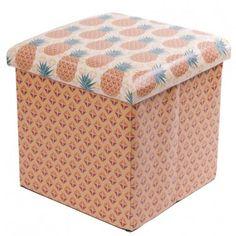 Foldable Padded Stool & Storage Box - Tropical Design