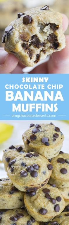 Skinny Chocolate Chip Banana Muffins is EASY and HEALTHY BREAKFAST RECIPE for busy mornings! cheddar casserole vegetable casserole recipes chicken and brocolli casserole chicken and broccoli casserole chicken and stuffing casserole Healthy Breakfast Recipes, Healthy Baking, Healthy Desserts, Delicious Desserts, Dessert Recipes, Yummy Food, Tasty, Jello Recipes, Kid Recipes