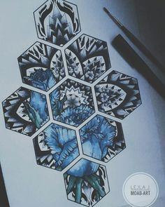 #mandala #dotwork #blackwork #geometric #roses #blue #watercolor - Artwork done by Lejla Jusufi