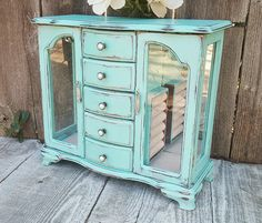 Light Mint Green SHABBY CHIC Jewelry Box by HuckleberryVntg