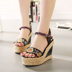 Female 2019 new summer high heels national wind women's sandals open toe leather. Bohemian Sandals, Open Toe Sandals, Women's Sandals, Beach Sandals, Leather Slippers, Peep Toe Platform, Black High Heels, Leather Wedges, Leather Boots